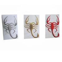 calcomanías de escorpiones al por mayor-(50 unids / lote) Venta al por mayor 3D PVC Scorpion Adhesive Badge Emblem Funny Car Decals Stickers Car styling