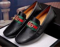 Wholesale mens casual leather italian shoes resale online - Luxury brand style Men s Dress Casual Party Loafers Shoe Cowskin Single Shoe Slip On part Wedding Italian Shoes mens designer loafers G6
