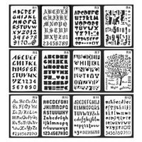 cuaderno diario diy al por mayor-12 Unids / set Alphabet Series Bullet Journal Stencil Planificador de Plástico Diario / Notebook / Diario / Scrapbooking Regla de Encaje Para Suministros de BRICOLAJE