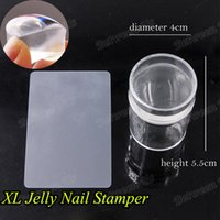 Wholesale Silicone Nail Art Stamp Set - Wholesale- 2016 New 4cm XL Pure Clear Jelly Silicone Nail Art Stamping Stamper Scraper Set With Cap Polish Print Manicure Stamping Tools