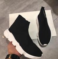 rahat gündelik ayakkabıları düz toptan satış-Adı Marka Yüksek Kalite Unisex Rahat Ayakkabılar Düz Moda Çorap Çizmeler Kadın Yeni Slip-on Elastik Bez Hız Trainer Koşucu Adam Ayakkabı Açık