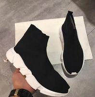sapatos casuais sapatos plana venda por atacado-Nome Marca de Alta Qualidade Unisex Sapatos Casuais Moda Plana Meias Botas de Mulher Novo Slip-on Pano Elástico Speed Trainer Runner Homem Sapatos Ao Ar Livre