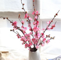 Wholesale Cherry Plum Blossom - Elegant silk Japanese cherry blossoms flower branches Decoration wintersweet flower Indoor spring display floar Realistic fresh 4colors
