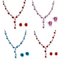 Wholesale Mini Heart Necklaces - Jewelry Sets Wholesales - Chocker Studs Sets Alloy Rose Shaped with Rhinestone Necklaces Pendants Mini Earrings 6 Colors