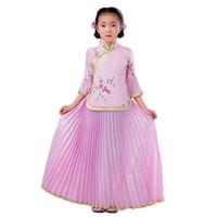 niñas vestidos estilos de bordado al por mayor-Estilo chino 1930s Baby Girls plisado vestido bordado flor danza cítara Performance ropa niños Cosplay traje