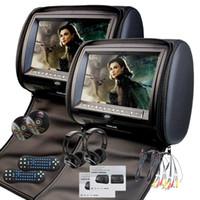 dvd de juegos de video al por mayor-EinCar Black 2 X Twin Car DVD reposacabezas 9 '' HD Tecla táctil FM 32 Bits Juegos MP3 Par de monitores Pantalla dual
