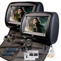dvds für car headrests großhandel-EinCar Black 2 X Twin DVD-Kopfstützen-Player 9-Zoll-HD-Taste FM 32-Bit-Spiele MP3-Monitorpaar Dual-Bildschirm