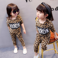 Wholesale leopard print baby girls pants - Baby Girls Leopard Clothing Sets Long Sleeve O-neck Top Pants Letters Printed Tight Spring Autumn Two-piece Kids Toddler Outfits