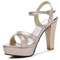 Wholesale sandals 33 - 2018 hot sale women sandals simple buckle solid fashion shoes top quality summer shoes big size 33-43 high heels shoes