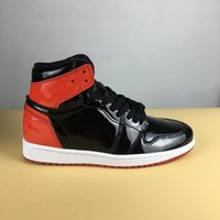 Wholesale Mirrored Fabric - Sport Sneakers Air Retro 1 High OG Basketball Shoes MIRROR BLACK RED NOIR ROUGE NRG Bred Sports SNEAKERS with Box