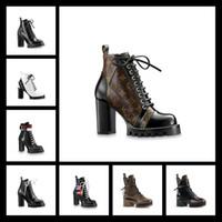 frauen fersenhöhe großhandel-HIGHT Qualität Schwarz Patchwork Gladiator Lace Up Frauen Stiefel Runde Kappe Plattform Chunky Heel Frauen Stiefeletten Schuhe Frauen
