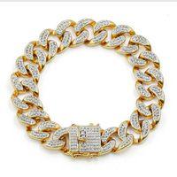 encaixes para jóias venda por atacado-Pulseira de corrente de zircão micro-incorporado europeu e americano homens hip hop pulseira de jóias