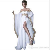 Arabic Style Long Sleeve White Chiffon Gold Lace Appliqued Abaya Kaftan Evening Dresses With High Slit Women Gowns