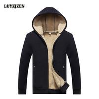 Wholesale fur lined sweatshirts - Wholesale- 2017 New Arrival Winter Thickening Hoodies Men Casual Jacket Fur Lining Solid Warm Zipper Coats Sweatshirts Male Parkas 624