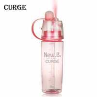 Discount used plastic bottles - Outdoor Moisturizing Drinking Portable Atomizing Dual-use Spray Plastic Water Bottle 400ml 600ml Blue Green Pink #1110