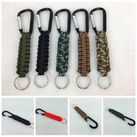 Wholesale survival keyring - Woven Paracord Lanyard Keychain Outdoor Survival Paracord Parachute Cord Lanyard Keyring Carabiner Hook Kits Outdoor Gadgets OOA4983