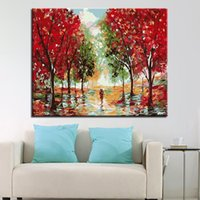 pintura abstracta árbol rojo al por mayor-Pintura al óleo por números diy pintada a mano rojo arce árbol autopista fotos lienzo para colorear sala de estar decoración de la pared ilustraciones abstractas