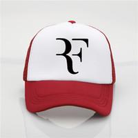 ingrosso cappelli da baseball giovanili-Berretto da baseball da uomo di moda Roger Federer RF Printing con cappuccio a rete da uomo Berretto da baseball estivo da donna New Joker da sole cappello da spiaggia cappello da visiera