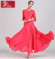 saia de salão amarelo venda por atacado-Concurso de dança de salão vestidos de alta qualidade manga longa saia de flamenco mulheres stage ballroom dress verde vermelho amarelo s9035