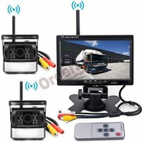 rear view camera monitor 24v 도매-무선 차량 백업 카메라 키트, RV 트럭 트레일러 버스 용 2 x 18 LED 주차 역방향 후면보기 카메라 + 7 인치 자동차 LCD 모니터 12V / 24V