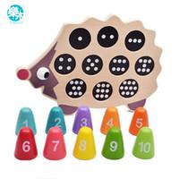 juguete de madera para herramientas al por mayor-Log Wood Baby educativo juguete de aprendizaje temprano preescolar herramienta de aprendizaje de matemáticas encantador erizo equilibrio memoria entrenamiento juego de correspondencias