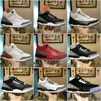 Wholesale medium sized star - Best Quality 3 Chicago OG Royal Mens Basketball Shoes Wine red Grey Purple Leather Trainer Discount 3s Sneakers Size 40-47