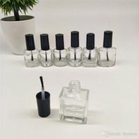 Wholesale nail polish brush cap - 10ML Nail Polish Bottle Square Glass Bottle with Brush Empty Nail Enamel Vial, Manicure oil packing Bottle