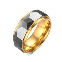 anéis de diamante tamanho 6.5 venda por atacado-Carboneto De Tungstênio de ouro Facetado Wedding Band Anel de Noivado De Diamante Corte Presente 8mm Conforto Fit Tamanho 6-12