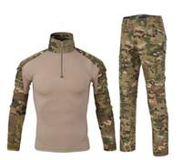 roupas de camuflagem grátis venda por atacado-Tático Roupas de Camuflagem Sapo Treinamento Sapo Terno de Manga Comprida Terno de Camuflagem Terno Conjuntos de Jaqueta Tática Frete Grátis