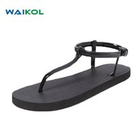 Wholesale roman sweets - Waikol Women Bohemia Sandals Black Apricot Roman Summer Flat Sandals For Ladies Sweet Shoes