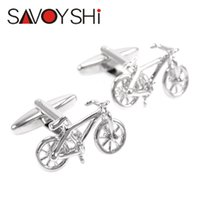 Wholesale bike fashion accessories for sale - Group buy SAVOYSHI Fashion Silver color Bicycle Cufflinks for Mens Shirts Accessories High quality Copper Bike Cuff links Brand Jewelry