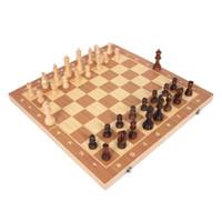 xadrez dobrável venda por atacado-Conjunto De Xadrez De Madeira Dobrável Jogo De Entretenimento De Xadrez Internacional Dobrável Placa Educacional Durável E Resistente Ao Desgaste De Entretenimento