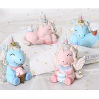 ingrosso ornamenti diy crafts-Cute Unicorn Cake Decoration Ornaments Matrimonio Compleanno Rifornimenti per bambini Bambini regalo fai da te torta di cottura decorazione strumento mestiere 4 stili