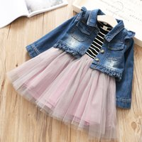 Wholesale Denim Tulle - Everweekend Kids Girls Spring Outfits Western Denim Coats 2pcs Stripe Patchwork Tulle Tutu Children 2pcs Sets