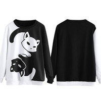 Wholesale cute color hoodies resale online - New Women Spring Fashion Hoodies Pullover Sweatshirt Cat Hoodies Black White Color Patchwork Cute Sweatshirt Harajuku Female Jumper Hot