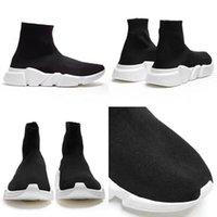 botas de malha preta venda por atacado-2019 Speed Trainer Botas Meias Stretch-Knit High Top Sapatos Trainer Sneaker Preto Branco Mulher Man Designer Shoes Size4.5-11.5