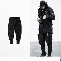 Wholesale fit cargo pants - ribbons pockets Cargo pants Hip hop street joggers trousers Asian size!! slim fit sweatpants Tattoos Rap men clothing