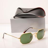 adfe8c82c581c Clássico Verde Lens New Fashion ray Óculos De Sol Homem Mulher Marca  Designer Sun Glasses 3556 Octogonal óculos de Sol Óculos de Proteção UV  Eyewear