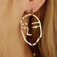 Wholesale Newest Earrings Style - Newest Fashion Simple Abstract Earrings For Women Funny Human Face Drop Earring Gold Party Punk Style Cute Wholesale Jewelry D451L