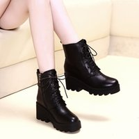 Wholesale black wedges booties - Wholesale Classic Fashion Quality Women genuine leather martin boots women wedged ankle booties