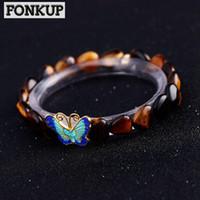ingrosso braccialetti dell'occhio della tigre argento-Forkup Tiger Eye Stone Bracciale Bohemia Women Power Wristlet Party 925 Silver Jewellery Geometric Simple Accessories Butterfly