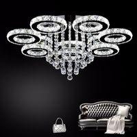 elmas yüzük led kristal avizeler toptan satış-Modern LED Cristal Avizeler Işık Paslanmaz çelik Kristal Tavan Lambası Oturma Odası Otel için Elmas Yüzük LED Cilalar Krom aydınlatma