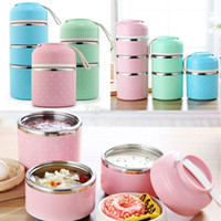 Wholesale cute travel box resale online - Stainless Steel Lunch Box Portable Cute Japanese Lunchbox Adult Children Insulation Leak Proof Box Travel Picnic Storage Container WX9