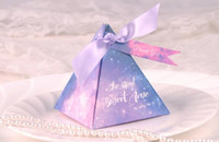 Wholesale Chocolate Shower Favors - Space Stars Candy Box Wedding Birthday Baby Shower Party Nebula Cosmic Paper Ribbon Sweets Chocolate Gift Favors Boxes romatic gift wrap