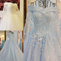 Wholesale white lace tulle cape resale online - 2020 Blue Off The Shoulder Wedding Dresses with Detachable Cape Beaded Pearls Applique Elegant Lace Up Back Bridal Wedding Gowns Real Photo