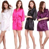 büyük boy pijama toptan satış-10 Renkler Seksi Büyük Boy Seksi Saten Gece Robe Katı Dantel Bornoz Mükemmel Düğün Gelin Gelinler Kadın Pijama Analık Elbiseler AAA303