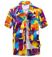 envío gratis ropa asiática al por mayor-Camisa hawaiana para hombre camisa ocasional masculina camisa de playa impresa camisas de manga corta marca envío gratis tamaño asiático 5XL
