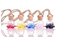 ätherische öle glas anhänger großhandel-Buntes wesentliches Öl-Selbstverzierungs-Blumen-Form-Parfüm-hängende Auto-Parfümflaschen Auto-anregendes hängendes Glasflaschen-Lufterfrischer