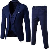 ingrosso set di nozze per gli uomini-NIBESSER Suit + Vest + Pants 3 pezzi Sets Slim Abiti da sposa Blazer da party Giacca da uomo da uomo Groomsman Suit Pants Set di giubbotti