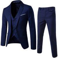 ingrosso pantaloni in pelle viola-NIBESSER Suit + Vest + Pants 3 pezzi Sets Slim Abiti da sposa Blazer da party Giacca da uomo da uomo Groomsman Suit Pants Set di giubbotti